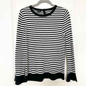 TALBOTS • Black/White Stripe Crewneck Sweater Sz M